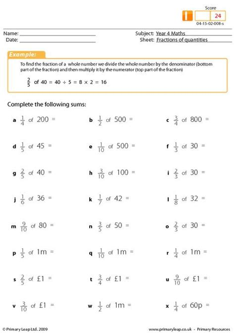 Fraction Of A Quantity Worksheet all worksheets 187 fractions of quantities worksheets ks2