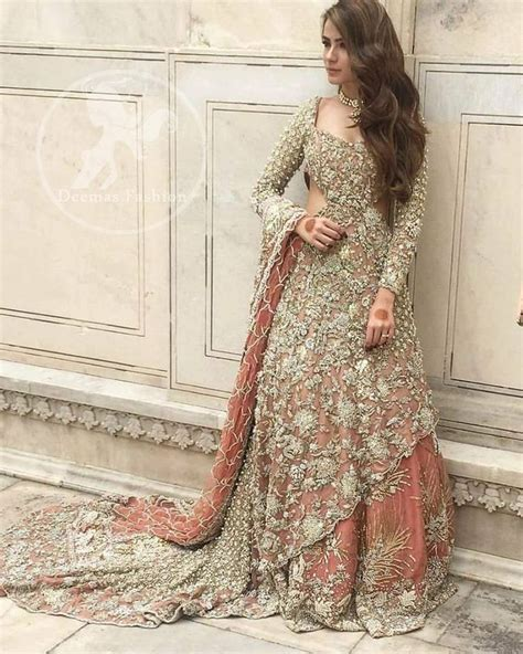 Pakistani Bridal Dress 2018   Peach Back Trail Maxi