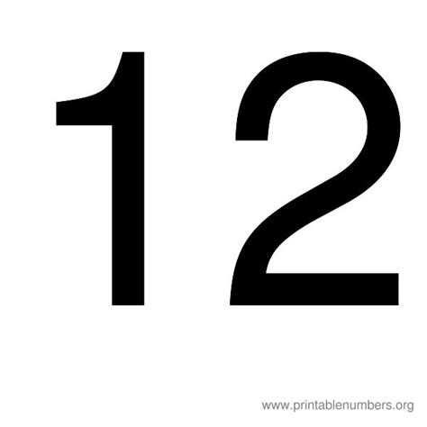 printable numbers 1 12 the gallery for gt number 12 black