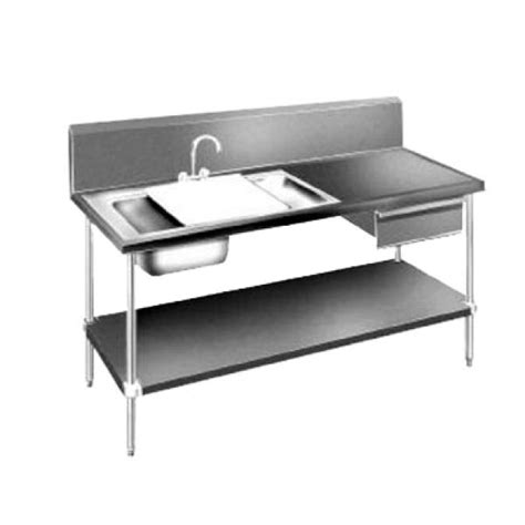 Stainless Steel Table With Sink And Faucet by 72 Quot Prep Table Sink Unit W 2 Sinks Stainless Steel