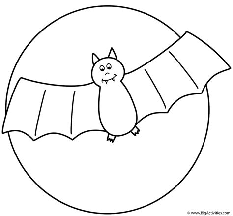 bat with the moon coloring page halloween