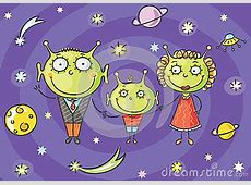 Cartoon Alien Family With A Little Son On Space Background ... House With Garden Clipart