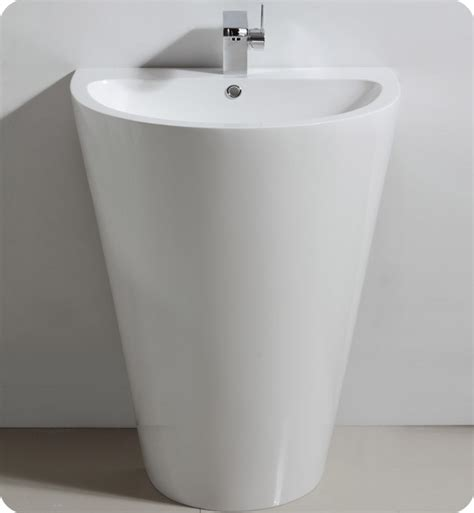 Fresca fvn5023wh parma 24 quot white pedestal sink with medicine cabinet