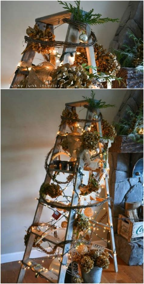 how to make a ladder christmas tree 40 wooden ladder repurposing ideas that add farmhouse charm to your home diy crafts
