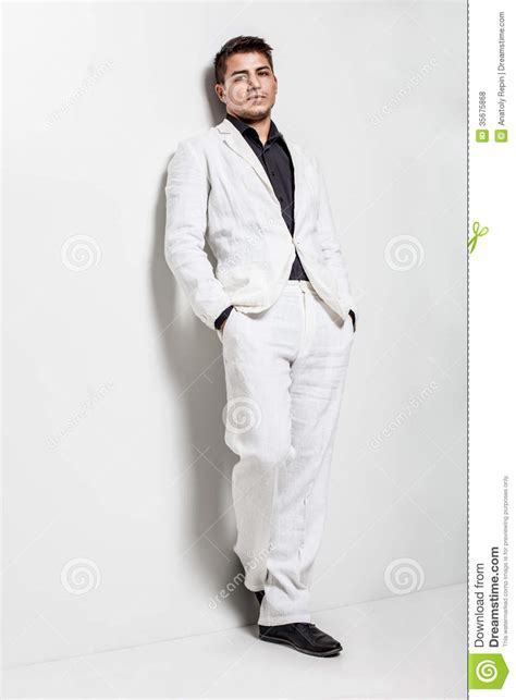 how to wear a white suit for your wedding brides young man wearing white suit stock photo image 35675868