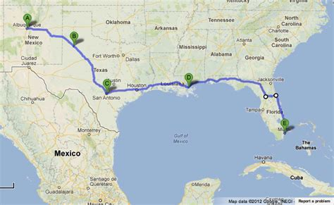 map of texas to florida road trip albuquerque san antonio new orleans miami