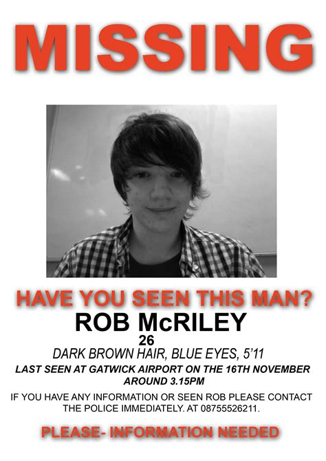 creating a missing poster for rob mcriley post 1