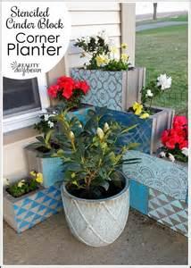 diy stenciled l shaped cinder block planter tutorial