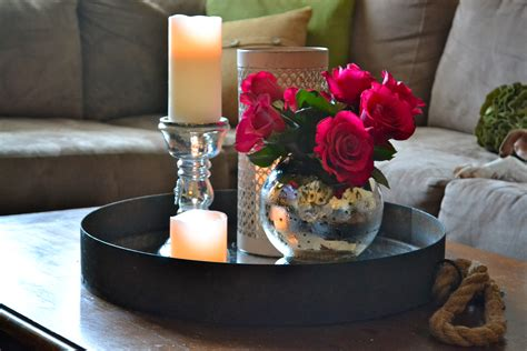 coffee table centerpieces furniture table decoration with white candle in glass jar