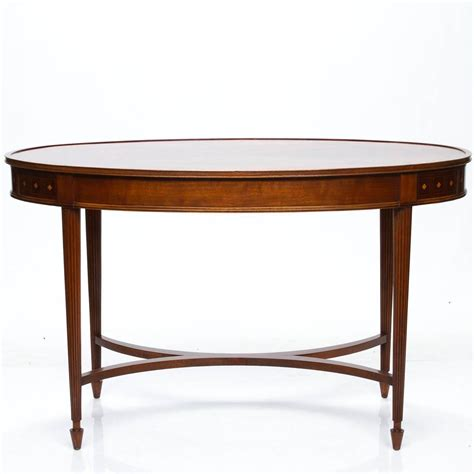 vintage inlaid oval writing desk for sale at 1stdibs