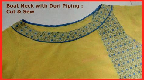 boat neck piping make patchwork boat neckline cutting sewing neck dori