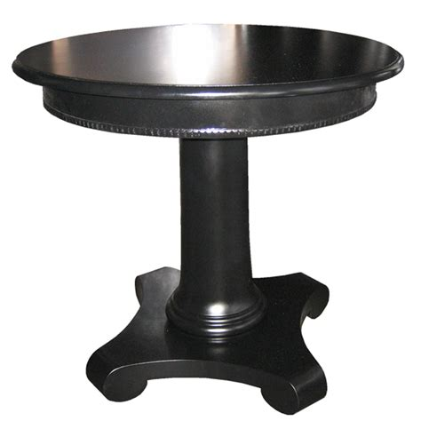 round black accent table clear coating wooden pedestal based for square wooden side