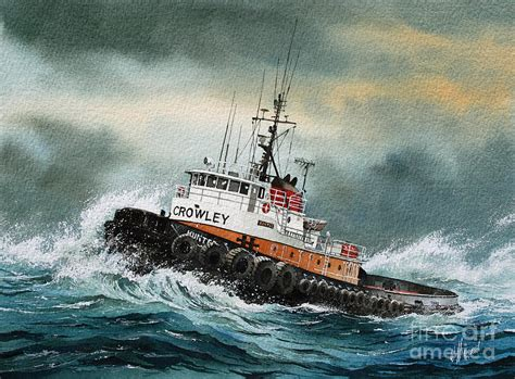 Marine Shower Curtain Tugboat Hunter Crowley Painting By James Williamson