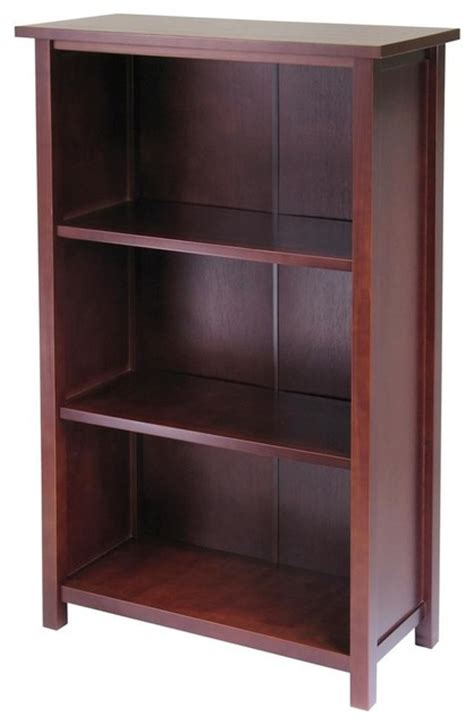 Solid Wood 3 Shelf Bookcase solid wood bookcase credenza w 3 shelves contemporary bookcases