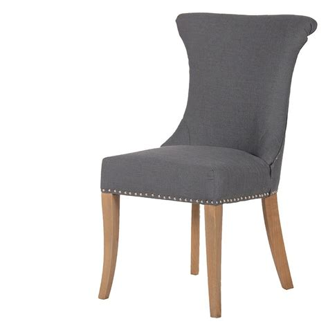 Dark Grey Studded Dining Chair With Ring French Studded Dining Room Chairs