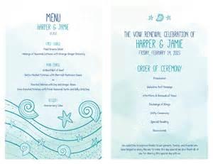 vow renewal ceremony program free vow renewal invitation suite sea shells starfish
