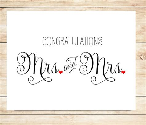 Wedding Congratulations Card Templates Free by Items Similar To Printable Mrs And Mrs Wedding Card