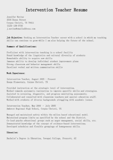 Cover Letter For Intervention Great Sle Resume Resume Sles Intervention Resume Sle