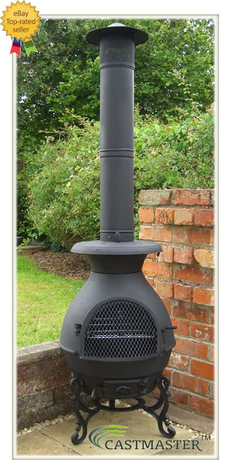 Chiminea Patio Castmaster Cast Iron King 6ft Bbq Pot Belly Stove Chiminea