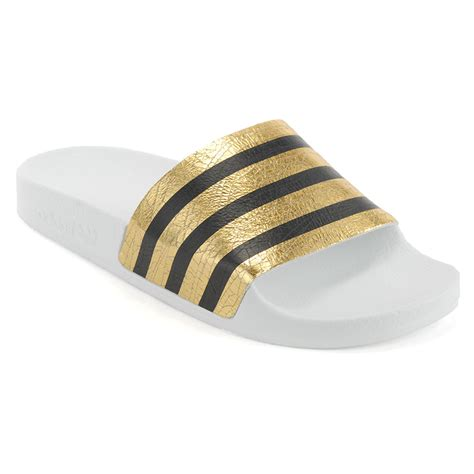 adidas sandals womens adidas s originals adilette slides gold metallic