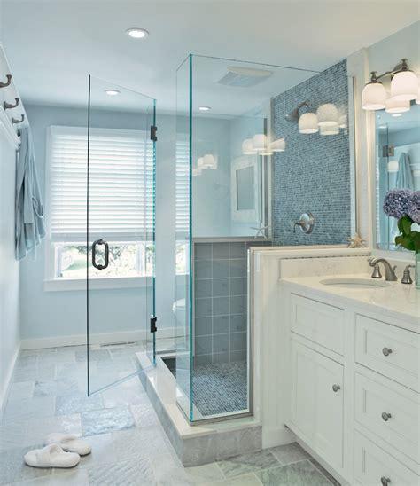 blue bathtub remodel blue glass shower tiles transitional bathroom donna