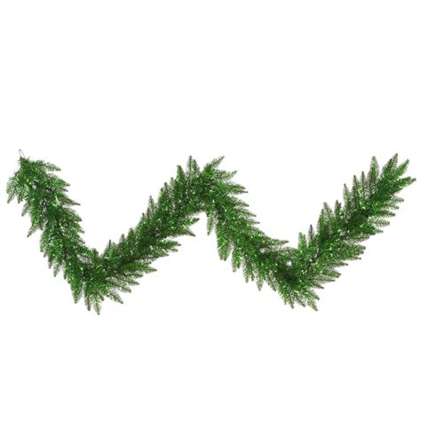9 foot green tinsel garland with green lights k125815