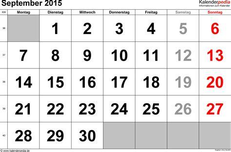 Calendar For September 2015 Kalender September 2015 Als Excel Vorlagen