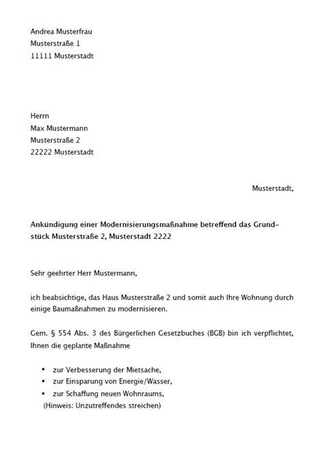 mieterhoehung modernisierung musterbrief zum