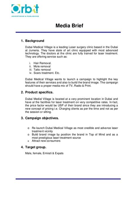 Mediation Briefformat Creative Brief Format
