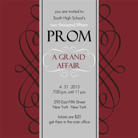 prom invitation templates maroon and gray square formal prom invite template