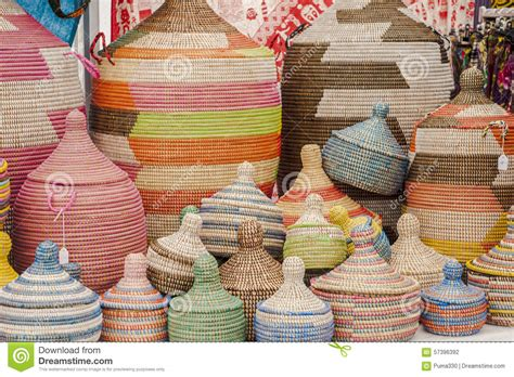 Handmade Baskets From Africa - colorful handmade baskets stock photo image