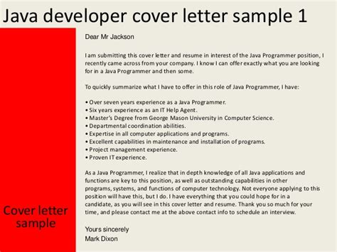 Motivation Letter Java Developer Java Developer Cover Letter