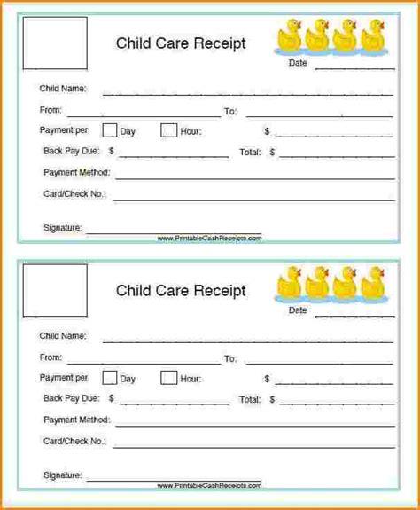 Receipt Template Childcare by 7 Childcare Receipt Restaurant Receipt