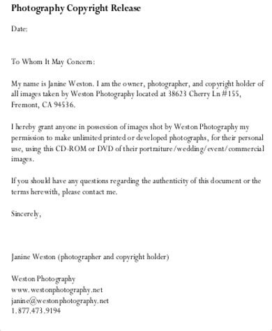 Copyright Release Letter Photography Template photography copyright release form resume template