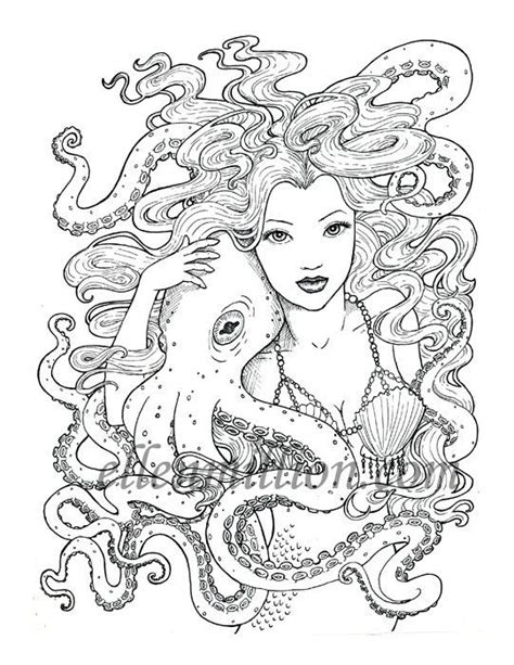 digital coloring book friends beautiful mermaid octopus digi st