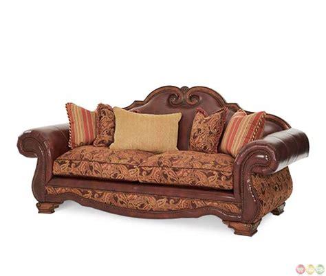 michael amini leather sofa michael amini tuscano brick high leather and fabric back