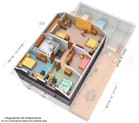 Idée Plan Maison En Longueur 3870 by Plan Maison 3 Chambres 3d