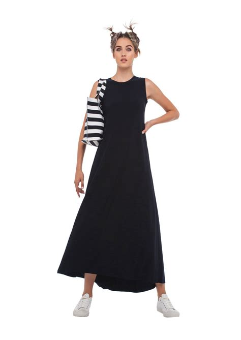 Kamali Kulture Sleeveless Long Swing Dress Black