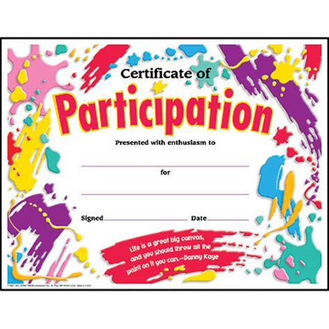 t 2957 certificate of participation paint splat colorful