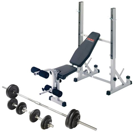 benching with dumbbells york b540 weight bench with 50kg barbell dumbbell set