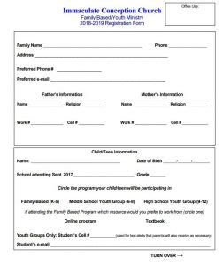 family based/youth ministry registration (annual