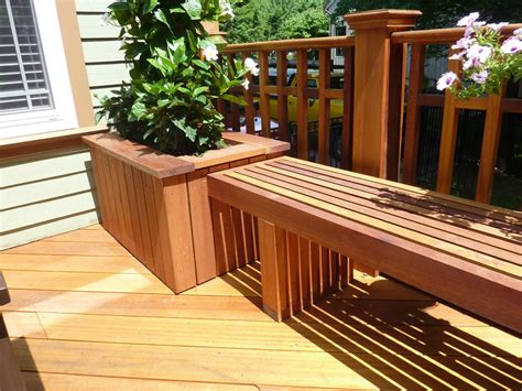 bench made from decking mahogany deck roseland construction