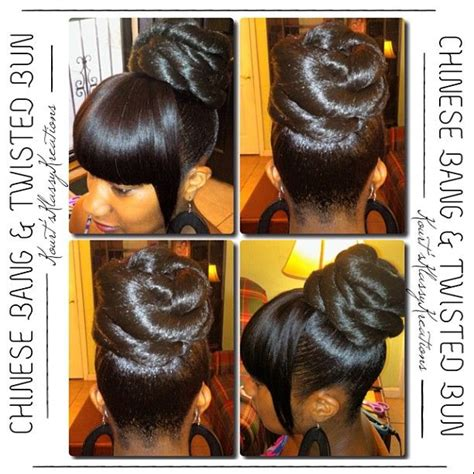 bang and bun hairstyles kourtisnsession chinese bang twisted bun