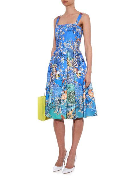 katrantzou favry ramora print dress in blue lyst