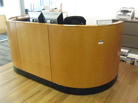 Used Reception Desks For Sale by 94w X 87d Reception L Desk In Maple Wood Exterior
