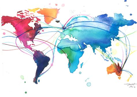 The World In Watercolor by World Map For Dennis Print From Original Watercolor Painting
