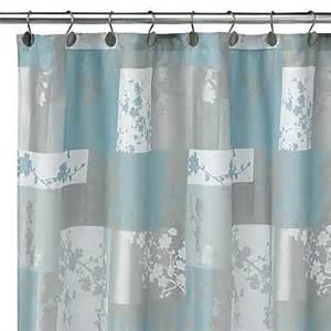 essence blue fabric shower curtain bed bath beyond
