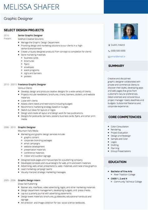 Graphic Designer Cv by Graphic Design Cv Exles And Template