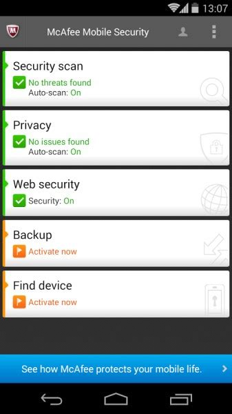 mcafee mobile free mcafee mobile security for android offers privacy