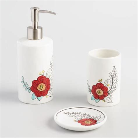 Painted Flower Ceramic Toothbrush Holder World Market World Bathroom Accessories